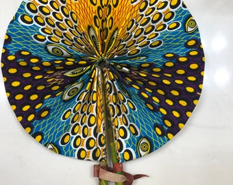 Yellow purple blue  Ankara african wedding favor ethnic print fabric round windmill style handmade hand fan with leather trim folding