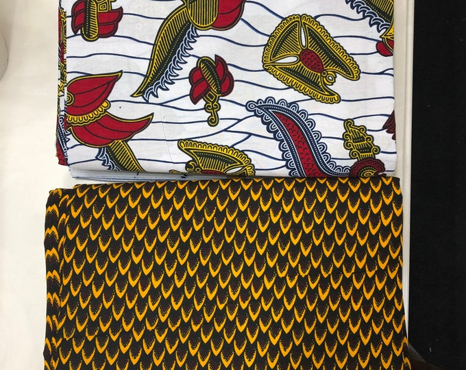 MM474 3 yards each  pairing watch fish scale Brown/White Mix and Match African Fabric/ Wax print/ Material