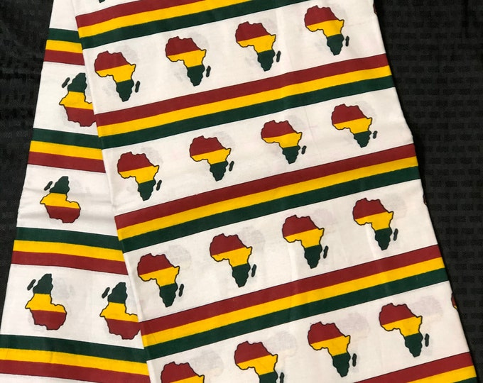 MP1 African fabric by yard yellow red white african map kitenge african print/ African clothing/ African home decor/ ethnic print/ material