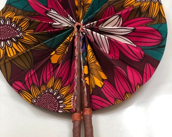 Teal Green pink yellow  Ankara african wedding favor ethnic print fabric round windmill style handmade hand fan with leather trim folding