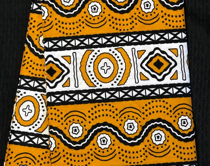 YWB11 mustard yellow black African fabric per yard mud cloth African Wax print: Ankara for Sewing Dresses/ shirts/ African art/