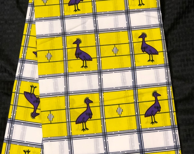 Yellow Purple white 6 yards bird African Fabric/African Wax print/ Ankara for Sewing/African Decor/Throw pillows/art and craft
