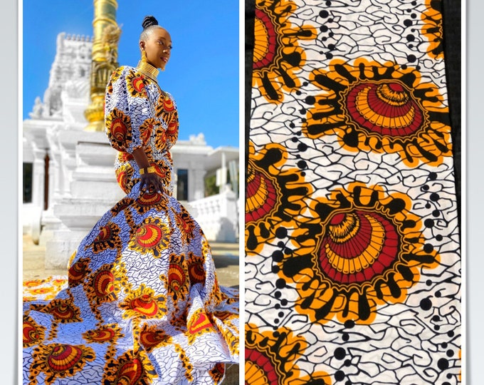 6 yards white  red/ Yellow Oysters Design African Fabric/African Wax print/ Ankara for Sew Dress/ African Art/ cloth dolls