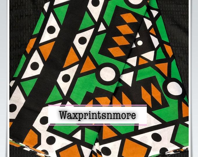 AS012 African fabric per yard White / Brown/ green angola samacacca African Fabric/ Ankara/ African Wax print/ Material/ cloth/ ntoma