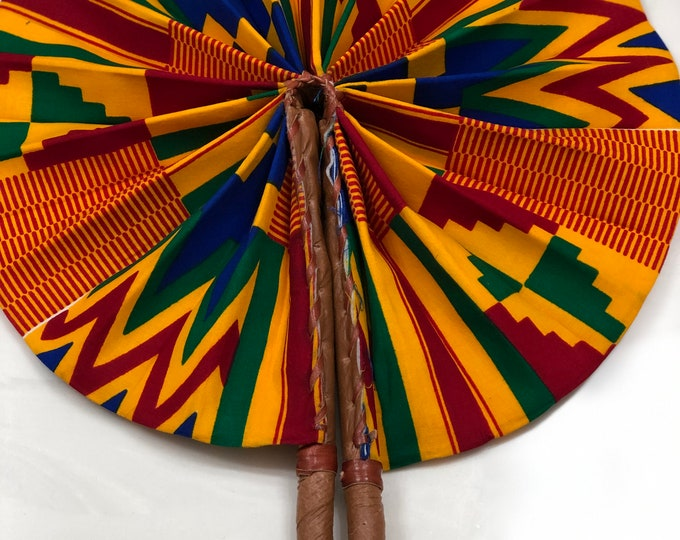 Orange yellow blue Kente Ankara african wedding favor ethnic print fabric round windmill style handmade hand fan with leather trim folding