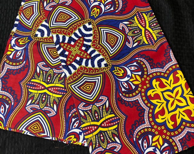 FB64 6 yard red royal Blue fiesta Design African Fabric/ African Wax print/ Ankara/ African Cloth/ Material/ Ghana/ Nigeria Fabric