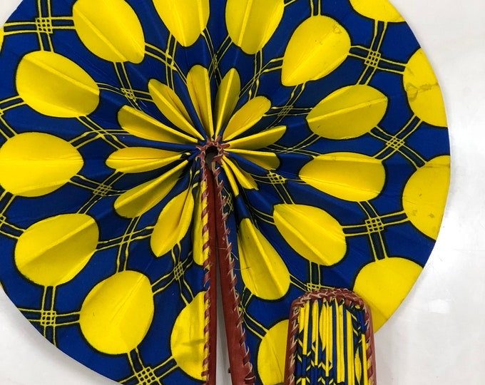 Blue yellow Ankara african wedding favor ethnic print fabric round windmill style handmade hand fan with leather trim folding