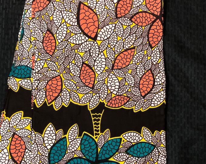 African fabric per yard Green Teal Peach Pink falling leaf Design African Fabric/ Ankara/ African Wax print/ Material/ cloth/ ntoma