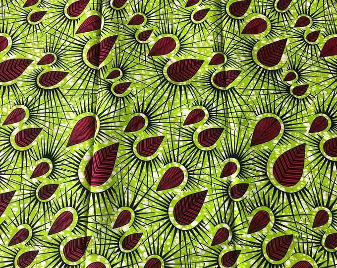 Ak15 african fabric per yard Pink/ Green African Wax print/ Ankara/ African Cloth/ Material/ Ghana/ Nigeria Fabric