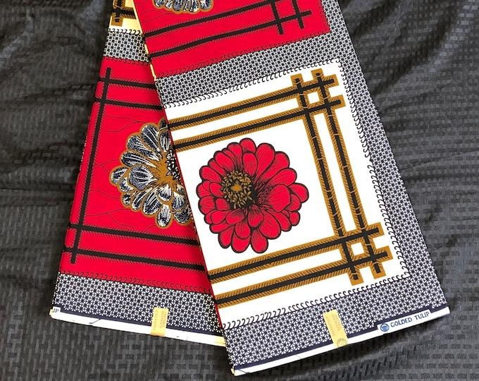KG6 6 yard Red beige navy blue black floral African Fabric/African Wax print/ Ankara for Dress/ African cloth dolls/ African decor