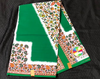 6 yards Green orange white design African Fabric/ African Wax print/ Ankara for Sewing Dress/ African hats/ art crafts/dolls