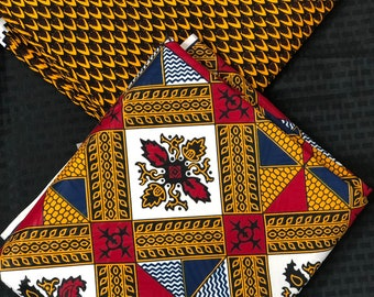MM236 3 yards each Mix and Match brown red white African Fabric/ ankara/ african Wax Print/ ethnic print/ African Material/ Doll Cloth
