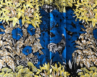 SK15 5 yards Silk blue Yellow black rooster cock Forest Silk print/ african silk fabric/ ethnic silk fabric/ African doll cloth