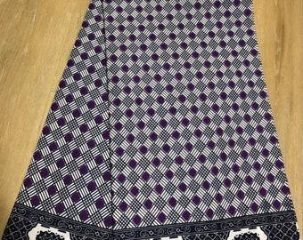 PW61 Purple eggplant  and white Checkerboard African ankara wax print