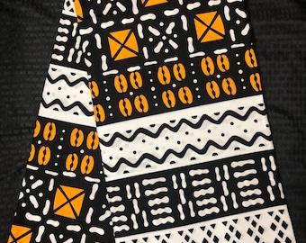 MC71 african fabric per yard black Brown white Yellow cowry shell mud cloth African Wax print/ Ankara for Dress/ African cloth doll