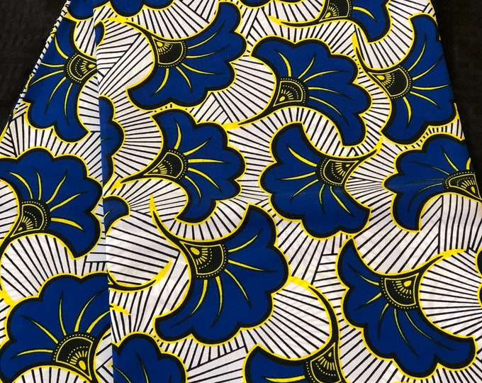 BLW61 6 yard royal Blue white floral petal salad African fabric/ ankara/ african Wax Print/ ethnic print/ African material/ home deco