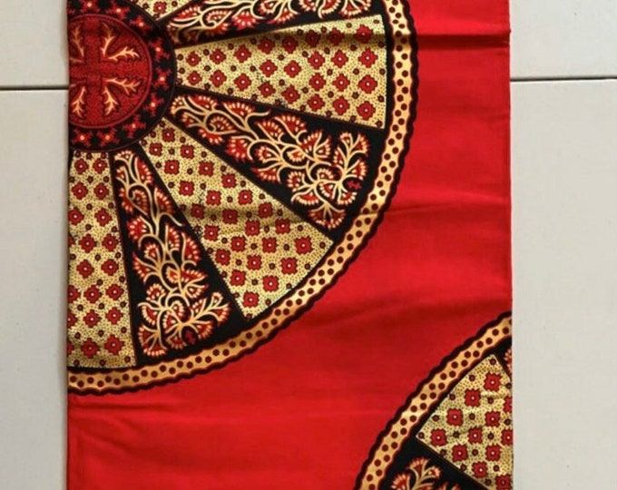 AG6117 6 yards red and Gold akuffo wheel of fortune Design African Wax print/ African Fabric/ Ankara/ ghana Cloth/ Material