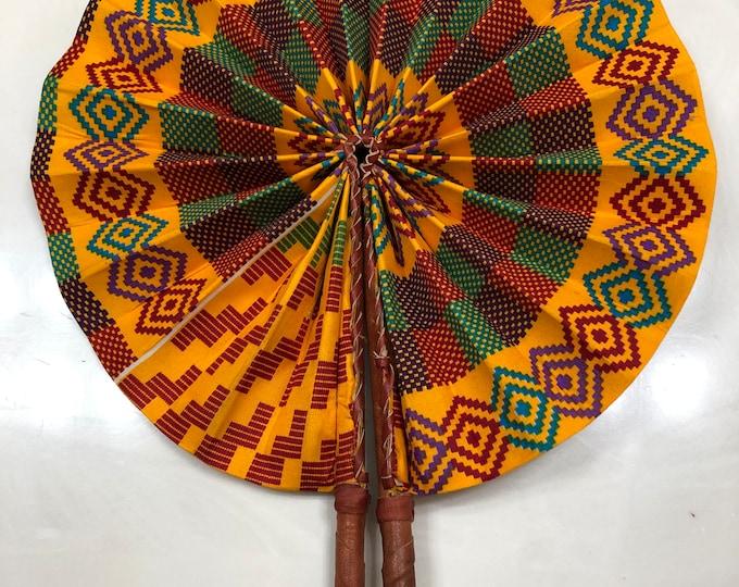 Orange Green purple Kente Ankara african wedding favor ethnic print fabric round windmill style handmade hand fan with leather trim folding