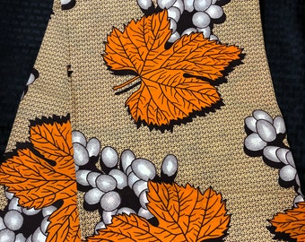 6 yards brown orange white leaf   Ethnic Print/african fabric/ african home decor/ African Wax print/ Ankara
