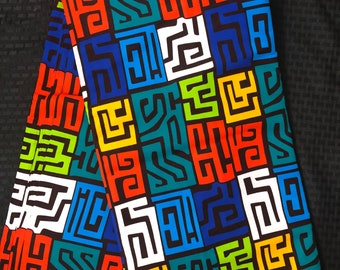 MC74 per yard yellow/ orange Blue green fiesta  african Fabric/ kente Wax print/ kente cloth/ Material/head wrap/ethnic tribal print
