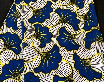 BLW11 African fabric per yard royal Blue white floral petal salad ankara/ african Wax Print/ ethnic print/ African material/ home deco