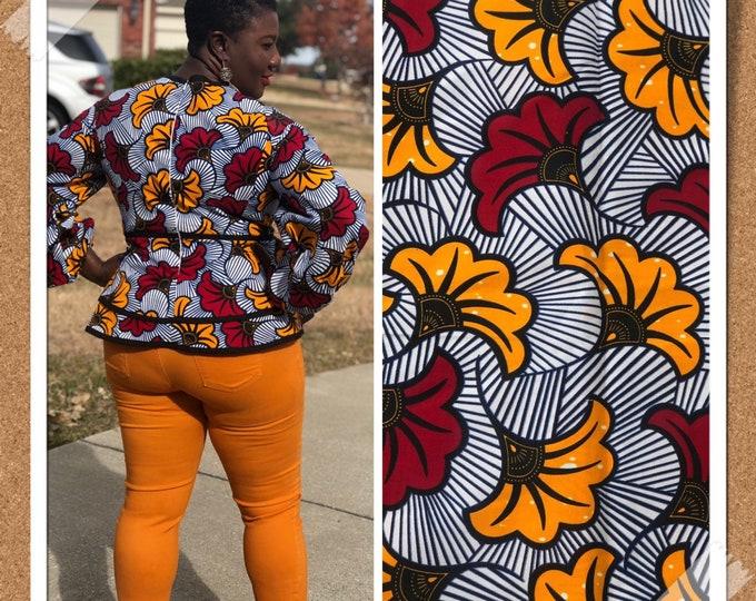 African fabric per yard White/ Yellow Salad floral petal African Fabric/African Wax print/ Ankara for Sew Dress/ African Art/ cloth dolls