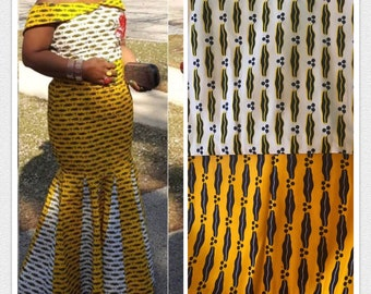 MM86 3 yards each white/yellow lips design African fabric/ African Print/ ankara/ african Material/ Doll Cloth/ ethnic print
