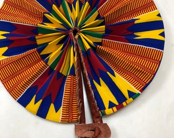 Yellow blue red Kente Ankara african wedding favor ethnic print fabric round windmill style handmade hand fan with leather trim folding