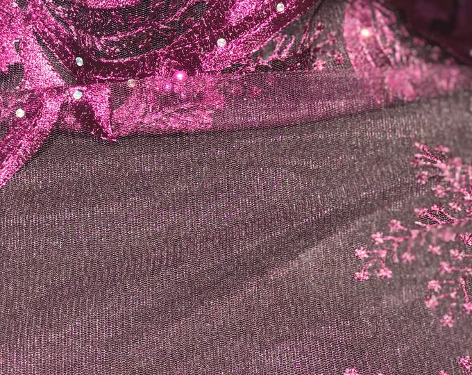 Purple African Net Lace with Beading 5 yards