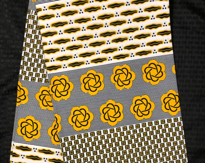 A6523 White/ yellow blue 6 yd lip floral African Fabric/ African Wax print: Ankara for Sewing Dresses/ shirts/ African art/ Doll/decor
