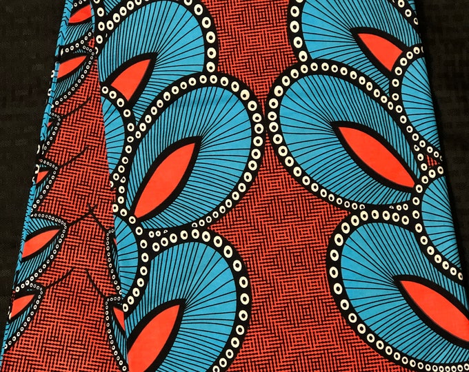 CB6 6 yards  Blue coral/pink/salmon feather African Fabric/African Wax print/ Ankara/ Sew Dress/ african table napkins/ ho