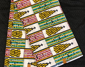 K67 6 yard pink/yellow green church/cathedral kente african Fabric/ kente Wax print/ kente cloth/ Material/head wrap