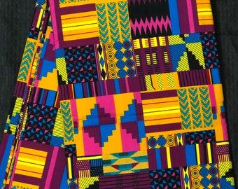 PK1 Per yard pink/purple yellow green kente african Fabric/ kente Wax print/ kente cloth/ Material/head wrap