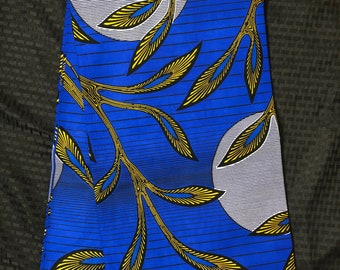 BY19African fabric per yard Royal blue Yellow sun moon leaf ethnic print/ quilting/ Sewing fabric/ Material: African print