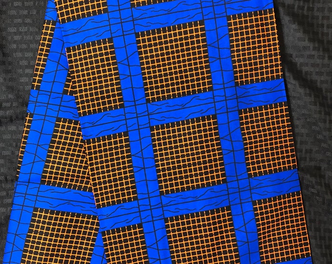 BBR65 6 yard Royal blue orange rack geometric African Fabric/African Wax print/ Ankara for Dress/ African cloth dolls/ African decor