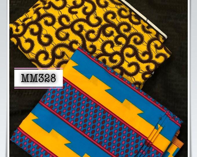 MM328 3 yards each yellow blue kente Mix Match African Wax/ African Fabric/ankara/ Material/ decor pillows/ african cloth dolls