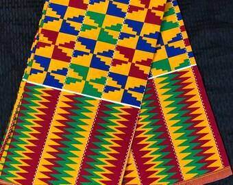 K617 6 yard yellow/ red/ Blue green kente african Fabric/ kente Wax print/ kente cloth/ Material/head wrap/ethnic tribal print
