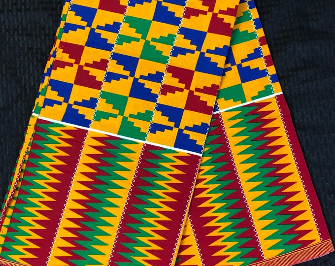 K617 6 yard yellow/ red/ Blue green kente african Fabric/ kente Wax print/ kente cloth/ Material/head wrap/ethnic tribal print