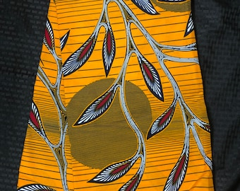 OR11 African print per yard red orange sun moon leaf African fabric/ African clothing/ African home decor/ ethnic print/ African material