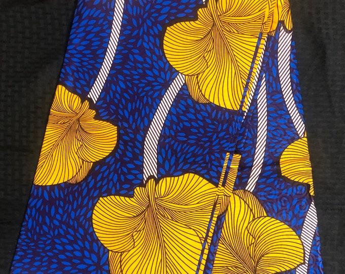 African fabric per yard Yellow blue floral design /African Wax print/ Ankara for Dress/ African cloth dolls/ African decor