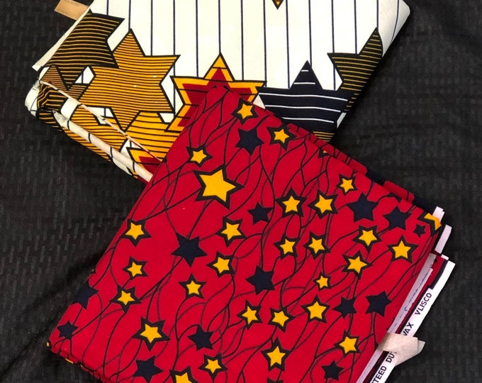 MM 189 3 yards each Mix Match  white yellow Red African Fabric/ ankara/ african Wax Print/ ethnic print/ African Material/ Doll Cloth