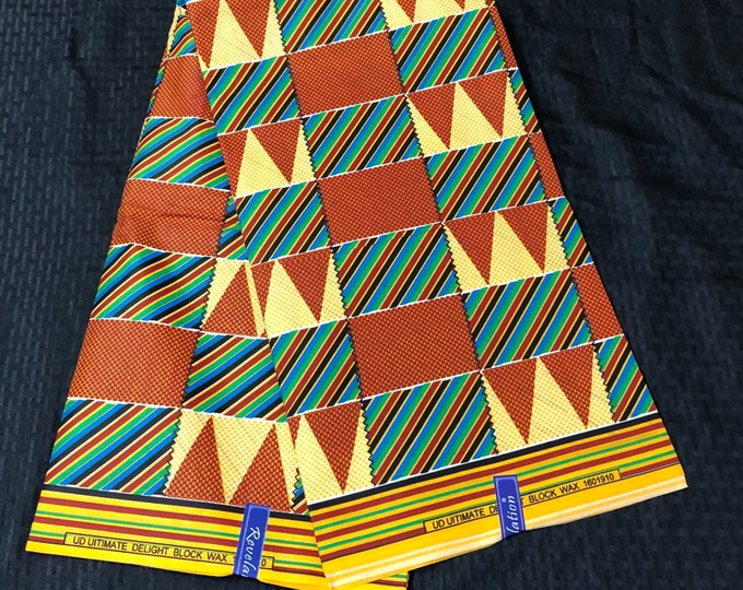 Brown Yellow green Polycotton 6 yards kente Design  wholesale kitenge African Fabric/ African Wax print/ Material/ cloth kitenge