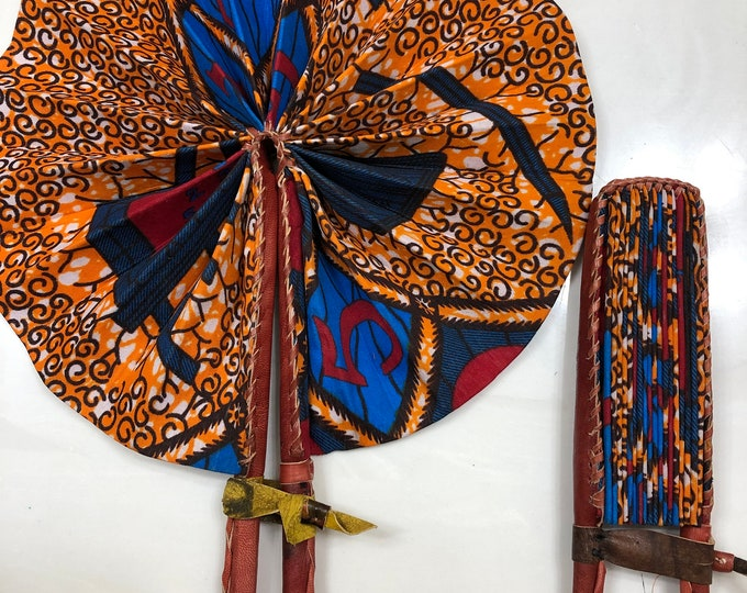Blue orange 1 2 3  Ankara african wedding favor ethnic print fabric round windmill style handmade hand fan with leather trim folding