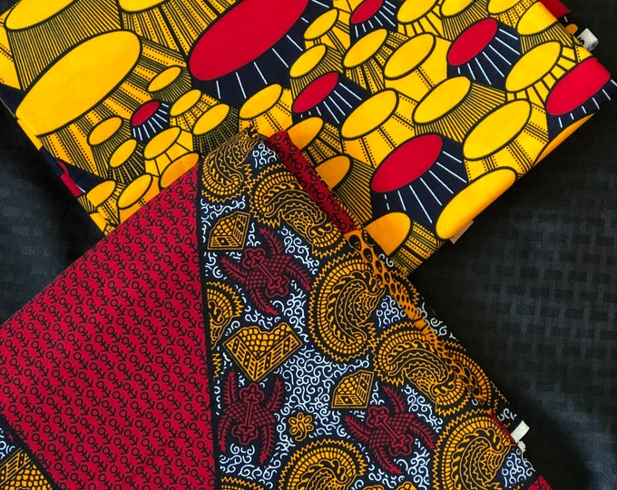 MM449 table Mix Match african fabric pair Red/ orange Yellow African Fabric/ ankara/ african Wax Print/ ethnic print/ African Material