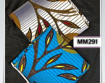 MM291 3 yards each Blue white yellow sun Mix  Match Combo African Fabric/ African Wax Print/ ethnic Fabric/ African Material/ cloth/ sewin