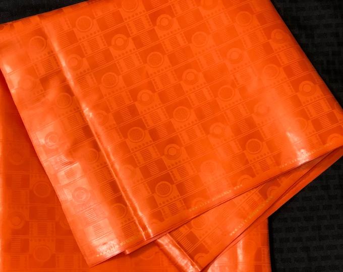 BB1 Bazin / Guinea Brocade African fabric per yard solid orange Kitenge African Wax print/ Ankara for Sew Dress/ African Art/ cloth dolls