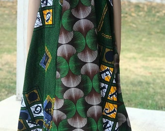 US Size L- XL 100% cotton kelly green mix match spaghetti strap tent african women's dress with