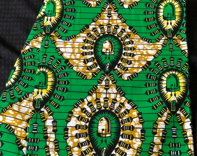 GY11 African fabric per yard Green yellow / African Wax print/ Ankara/ African Material/ cloth/ wrapper