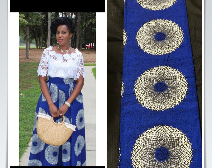 A6400 6 yards Blue white African Fabric/ African Wax print/ Ankara/ Sew Dress/ cloth dolls/ table napkins/ upholstery/pillows
