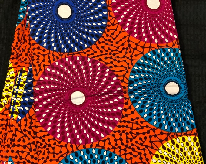 MC17 African fabric per yard bullseye multicolor orange yellow white green Mudcloth Design ankara/ african Material/ Cloth/ wrapper/Head tie